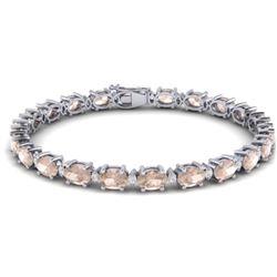 21.2 CTW Morganite & VS/SI Certified Diamond Eternity Bracelet 10K White Gold - REF-290K2W - 29455