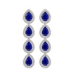 10.2 CTW Sapphire & Diamond Halo Earrings 10K White Gold - REF-155W5F - 41144