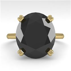 9.0 CTW Oval Black Diamond Engagement Designer Ring 14K Yellow Gold - REF-202A5X - 38483