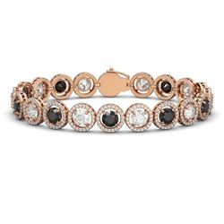 15.47 CTW Black & White Diamond Designer Bracelet 18K Rose Gold - REF-1561Y8K - 42699