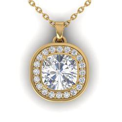1.25 CTW Cushion Cut Certified VS/SI Diamond Art Deco Necklace 14K Yellow Gold - REF-402H9A - 30341