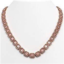 50.99 CTW Morganite & Diamond Halo Necklace 10K Rose Gold - REF-1273H5A - 41343