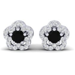 0.65 CTW Micro Pave VS/SI Diamond Earrings Moon Halo In 10K White Gold - REF-28F5N - 21208