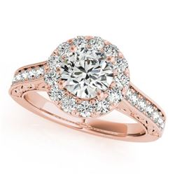 2.22 CTW Certified VS/SI Diamond Solitaire Halo Ring 18K Rose Gold - REF-613X8T - 26516