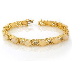 7.05 CTW Opal & Diamond Bracelet 10K Yellow Gold - REF-60T9M - 10384