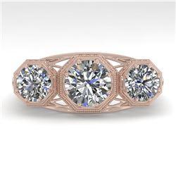 2 CTW Past Present Future VS/SI Diamond Ring 18K Rose Gold - REF-421T6M - 36062