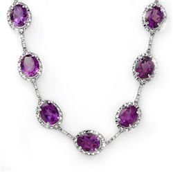 36 CTW Amethyst & Diamond Necklace 10K White Gold - REF-187K3W - 10250