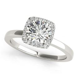 0.65 CTW Certified VS/SI Diamond Solitaire Halo Ring 18K White Gold - REF-98A2X - 26272