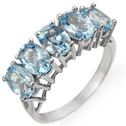 3.0 CTW Blue Topaz Ring 10K White Gold - REF-17K3W - 10998