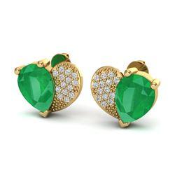 2.50 CTW Emerald & Micro Pave VS/SI Diamond Earrings 10K Yellow Gold - REF-34N5Y - 20073