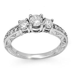 0.95 CTW Certified VS/SI Diamond Ring 18K White Gold - REF-120K2W - 11916