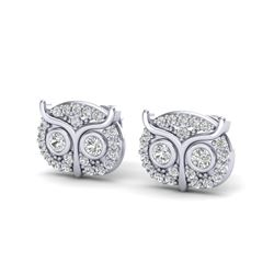 0.35 CTW Micro Pave VS/SI Diamond Earrings 18K White Gold - REF-35N8Y - 20090