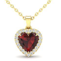 1 CTW Garnet & Micro Pave VS/SI Diamond Heart Necklace Halo 14K Yellow Gold - REF-28X4T - 21340