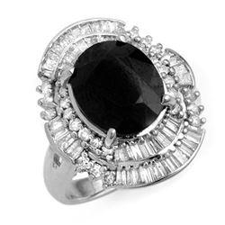 5.95 CTW Blue Sapphire & Diamond Ring 18K White Gold - REF-152M8H - 12845