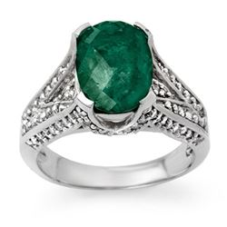 4.75 CTW Emerald & Diamond Ring 14K White Gold - REF-121T3M - 13927