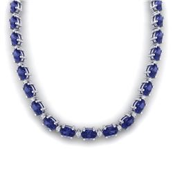 46.5 CTW Tanzanite & VS/SI Certified Diamond Eternity Necklace 10K White Gold - REF-439A5X - 29435