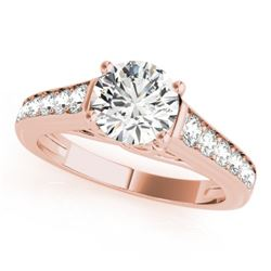 1 CTW Certified VS/SI Diamond Solitaire Wedding Ring 18K Rose Gold - REF-132H8A - 27502
