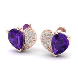 2.50 CTW Amethyst & Micro Pave VS/SI Diamond Earrings 10K Rose Gold - REF-30Y2K - 20063