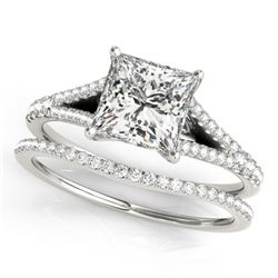 0.94 CTW Certified VS/SI Princess Diamond Solitaire 2Pc Set 14K White Gold - REF-129F5N - 31973