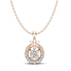 0.21 CTW Micro Pave VS/SI Diamond Halo Necklace 14K Rose Gold - REF-24H2A - 20363