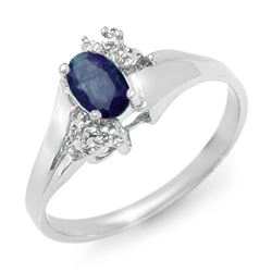 0.77 CTW Blue Sapphire & Diamond Ring 10K White Gold - REF-15T3M - 12408