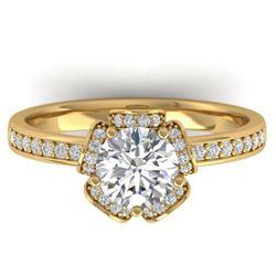 1.75 CTW Certified VS/SI Diamond Art Deco Ring 14K Yellow Gold - REF-390A4X - 30275