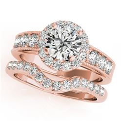 2.46 CTW Certified VS/SI Diamond 2Pc Wedding Set Solitaire Halo 14K Rose Gold - REF-555T6M - 31317