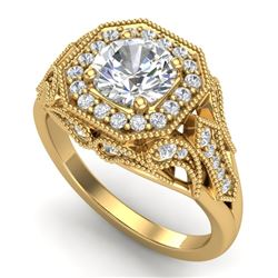 1.75 CTW VS/SI Diamond Solitaire Art Deco Ring 18K Yellow Gold - REF-436F4N - 37321