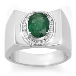 2.33 CTW Emerald & Diamond Men's Ring 10K White Gold - REF-58X5T - 14476