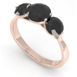 2 CTW Past Present Future Black Certified Diamond Ring Martini 14K Rose Gold - REF-57Y2K - 38349