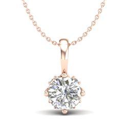 0.62 CTW VS/SI Diamond Solitaire Art Deco Stud Necklace 18K Rose Gold - REF-101M8H - 37023