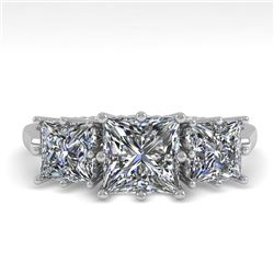 2.0 CTW Past Present Future VS/SI Princess Diamond Ring 18K White Gold - REF-414K2W - 35916