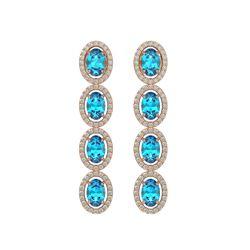 6.28 CTW Swiss Topaz & Diamond Halo Earrings 10K Rose Gold - REF-103Y6K - 40536