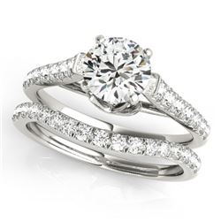 1.79 CTW Certified VS/SI Diamond Solitaire 2Pc Wedding Set 14K White Gold - REF-390M2H - 31685
