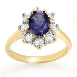 1.75 CTW Kaynite & Diamond Ring 14K Yellow Gold - REF-95A8X - 10606