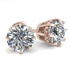 2.0 CTW VS/SI Diamond Stud Solitaire Earrings 18K Rose Gold - REF-518F2N - 35684