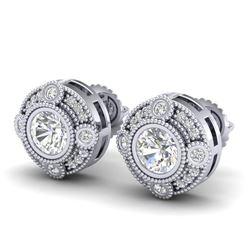 1.5 CTW VS/SI Diamond Solitaire Art Deco Stud Earrings 18K White Gold - REF-263A6X - 36980