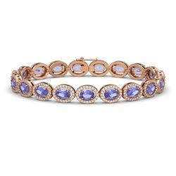 14.25 CTW Tanzanite & Diamond Halo Bracelet 10K Rose Gold - REF-273W5F - 40461