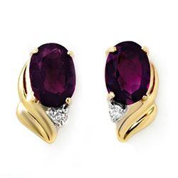 1.03 CTW Amethyst & Diamond Earrings 10K Yellow Gold - REF-11K3W - 12858