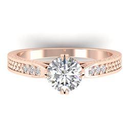 1.22 CTW Certified VS/SI Diamond Solitaire Art Deco Ring 14K Rose Gold - REF-355W3F - 30508