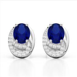 2.50 Sapphire & Micro VS/SI Diamond Stud Earrings 10K White Gold - REF-25M6H - 22338