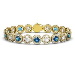 15.35 CTW Blue & White Diamond Designer Bracelet 18K Yellow Gold - REF-3455F5N - 42682