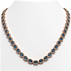 33.25 CTW London Topaz & Diamond Halo Necklace 10K Rose Gold - REF-511F3N - 40437