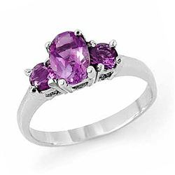 0.85 CTW Amethyst Ring 18K White Gold - REF-29H8A - 13200