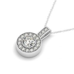 0.73 CTW Certified SI Diamond Solitaire Halo Necklace 14K White Gold - REF-71H3A - 30084