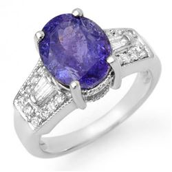 5.55 CTW Tanzanite & Diamond Ring 14K White Gold - REF-158N9Y - 11694