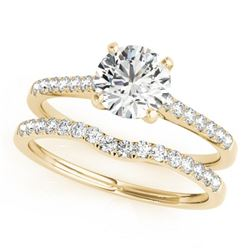 0.85 CTW Certified VS/SI Diamond Solitaire 2Pc Wedding Set 14K Yellow Gold - REF-126F2N - 31738