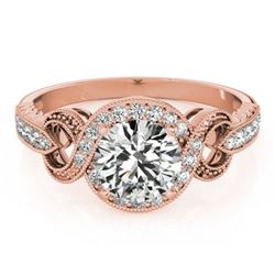 1.05 CTW Certified VS/SI Diamond Solitaire Halo Ring 18K Rose Gold - REF-198Y9K - 26582