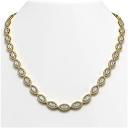 28.12 CTW Marquise Diamond Designer Necklace 18K Yellow Gold - REF-5219M3H - 42742