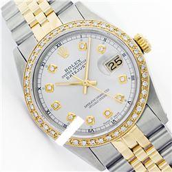 Rolex Ladies Two Tone 14K Gold/ss, Diamond Dial & Diamond Bezel, Sapphire Crystal - REF-434K5T